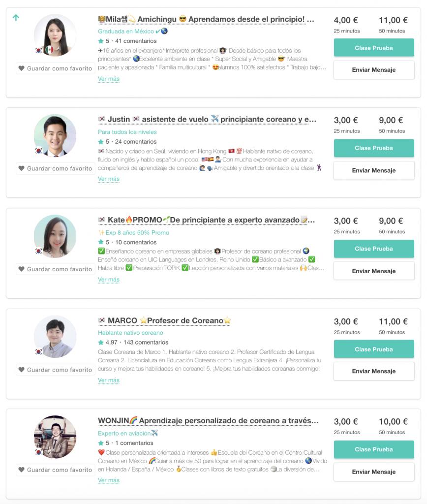 Profesores de Coreanos Online